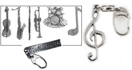 Pewter Instrument Keyrings