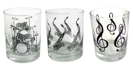 Music themed glass drinking tumblers